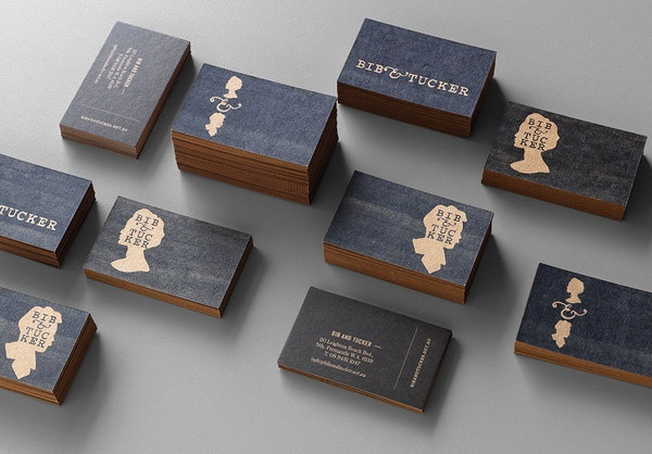 Business Cards in Stacks with Gold Edges